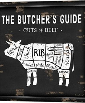 Butchers Guide Cow By Jennifer Pugh Canvas Art Wall Picture Museum Wrapped With Black Sides 12 X 12 Inches 0 300x360