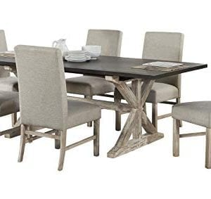 Cambridge 99004 7PC RUS Ellington 6 Fabric Chairs 7 Piece Dining Set With Expandable Trestle Table Weathered White 0 0 300x283