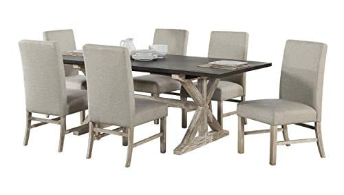 Cambridge 99004 7PC RUS Ellington 6 Fabric Chairs 7 Piece Dining Set With Expandable Trestle Table Weathered White 0 0