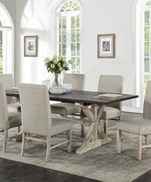 Cambridge 99004 7PC RUS Ellington 6 Fabric Chairs 7 Piece Dining Set With Expandable Trestle Table Weathered White 0 300x360