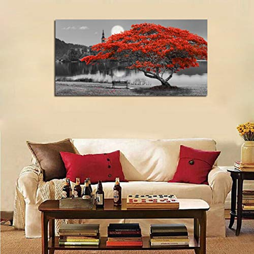 Canvas Wall Art Prints Red Tree Lake Moon Picture One Panel Large Size, Modern Framed Panoramic Landscape Artwork - Farmhouse Goals