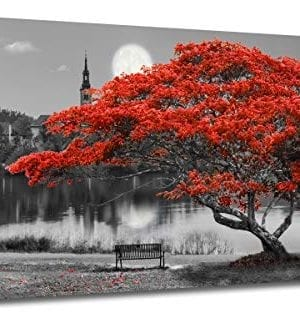 Canvas Wall Art Prints Red Tree Lake Moon Picture One Panel Large Size Modern Framed Panoramic Landscape Artwork Painting Home Office Mural Dcor Stretched 48x24 Inches 0 300x318