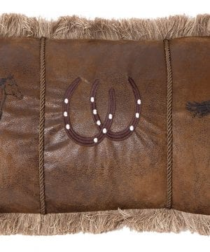 Carstens Running Horses Faux Leather Decorative Pillow 14 X 26 Multicolor 0 300x360