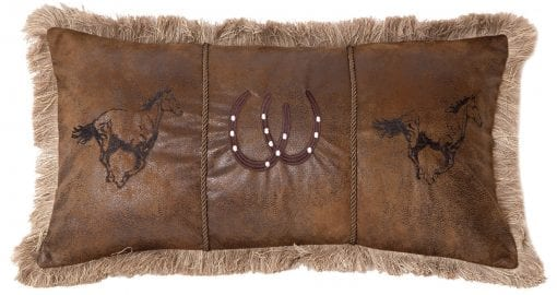Carstens Running Horses Faux Leather Decorative Pillow 14 X 26 Multicolor 0 510x270