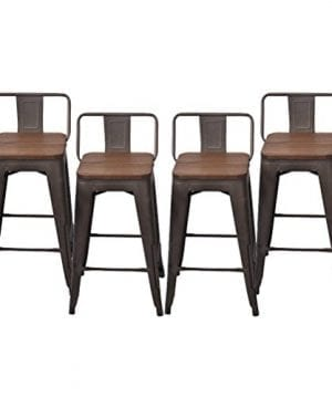 Changjie Furniture Pack Of 4 Low Back Gunmetal Counter Bar Stool Indoor Outdoor Bistro Cafe Bar Stools 26 Inch Low Back Wooden 0 300x360