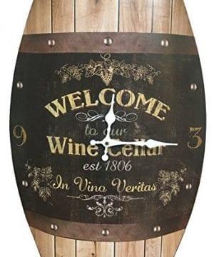 Clock Wine Barrel Look 20x15 Inches Concave Wine Barrel Shape Wine Cellar Rustic Design 0 300x360