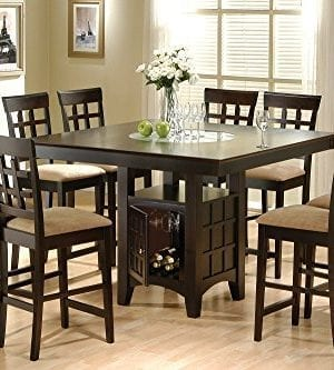 Coaster Home Furnishings 9 Piece Counter Height Storage Dining Table WLazy Susan Chair Set 0 300x333
