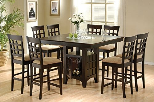 Coaster Home Furnishings 9 Piece Counter Height Storage Dining Table WLazy Susan Chair Set 0