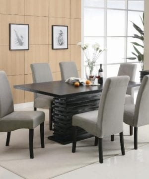 Coaster Home Furnishings Brownville 7 Piece Dining Table Set In Rich Black With Gray Chairs 0 0 300x360