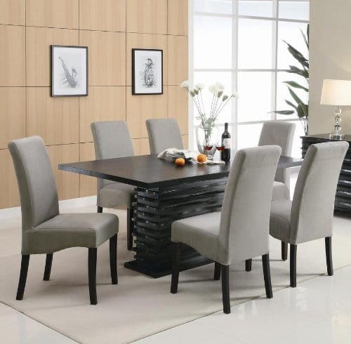 Coaster Home Furnishings Brownville 7 Piece Dining Table Set In Rich Black With Gray Chairs 0 0