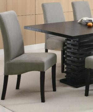 Coaster Home Furnishings Brownville 7 Piece Dining Table Set In Rich Black With Gray Chairs 0 1 300x360