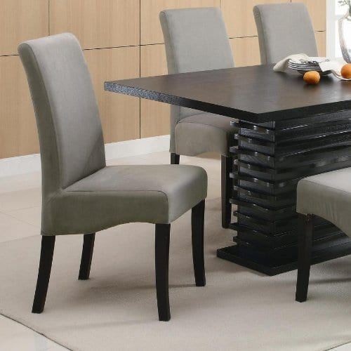 Coaster Home Furnishings Brownville 7 Piece Dining Table Set In Rich Black With Gray Chairs 0 1