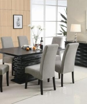 Coaster Home Furnishings Brownville 7 Piece Dining Table Set In Rich Black With Gray Chairs 0 300x360