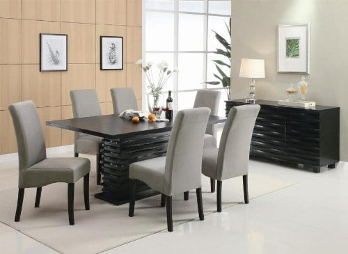 Coaster Home Furnishings Brownville 7 Piece Dining Table Set In Rich Black With Gray Chairs 0