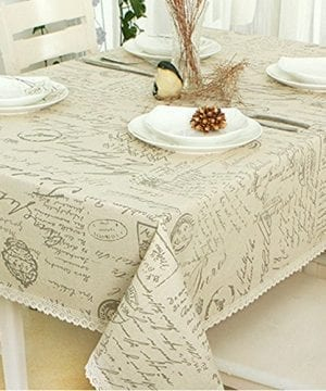 ColorBird Shabby Chic Cotton Linen Tablecloth Letter Printed Macrame Lace Dustproof Table Cover For Kitchen Dinning Pub Tabletop Decoration 0 300x360