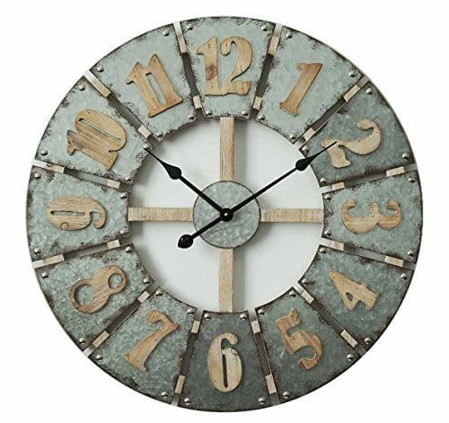 Concepts Big Wall Clock Big Numerals Metal Features Grey Cool Color Amazing Decor Style 27 Inches 0