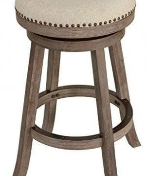 Cortesi Home Piper Backless Swivel Bar Stool In Solid Wood Beige Fabric 30 H 0 300x360