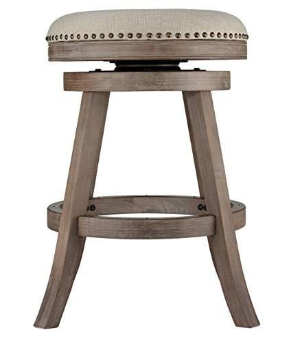 Cortesi Home Sadie Backless Swivel Counter Stool In Solid Wood Beige Fabric 0 0