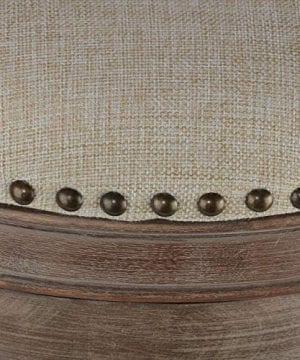 Cortesi Home Sadie Backless Swivel Counter Stool In Solid Wood Beige Fabric 0 1 300x360