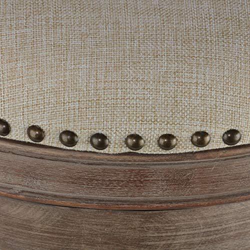 Cortesi Home Sadie Backless Swivel Counter Stool In Solid Wood Beige Fabric 0 1