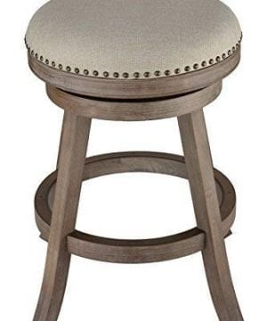 Cortesi Home Sadie Backless Swivel Counter Stool In Solid Wood Beige Fabric 0 300x360