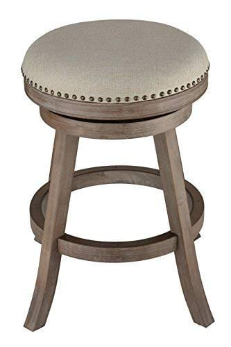 Astonishing Cortesi Home Sadie Backless Swivel Counter Stool In Solid Wood Beige Fabric Ncnpc Chair Design For Home Ncnpcorg