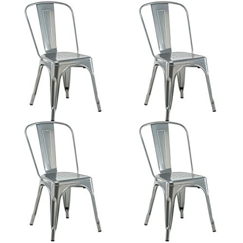 Costway Set Of 4 Tolix Style Dining Chair Metal Stackable Industrial Vintage Chic High Back Indoor Outdoor Dining Bistro Caf Kitchen Side Chair Silver 0