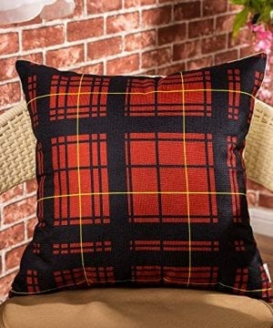Cotton Linen Fjfz Home Decorative Throw Pillow Case Cushion Cover For Sofa Couch Christmas Winter Deer Scottish Buffalo Plaid Red 18 X 18 0 0 300x360