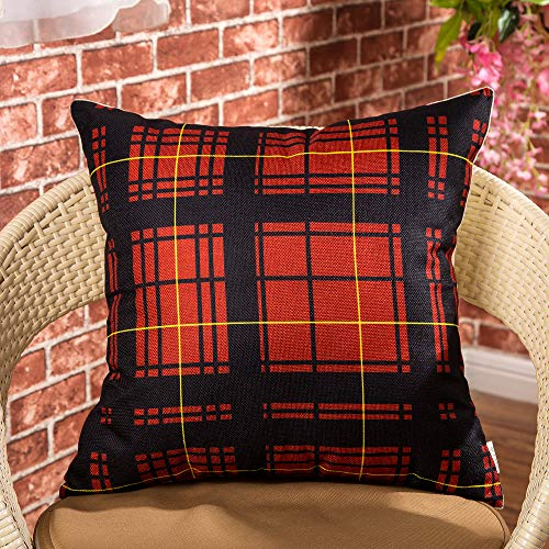 Cotton Linen Fjfz Home Decorative Throw Pillow Case Cushion Cover For Sofa Couch Christmas Winter Deer Scottish Buffalo Plaid Red 18 X 18 0 0