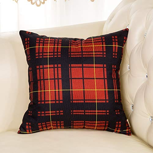 Cotton Linen Fjfz Home Decorative Throw Pillow Case Cushion Cover For Sofa Couch Christmas Winter Deer Scottish Buffalo Plaid Red 18 X 18 0 1