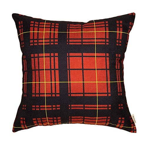 Cotton Linen Fjfz Home Decorative Throw Pillow Case Cushion Cover For Sofa Couch Christmas Winter Deer Scottish Buffalo Plaid Red 18 X 18 0