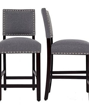 DAGONHIL 24 Counter Height Bar Stools With Solid Wood Legs Set Of 2 Gray 0 300x360