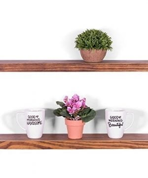 DAKODA LOVE 525 Deep Weathered Edge Floating Shelves USA Handmade Clear Coat Finish 100 Countersunk Hidden Floating Shelf Brackets Beautiful Grain Pine Wood Rustic Set Of 2 24 Bourbon 0 300x360