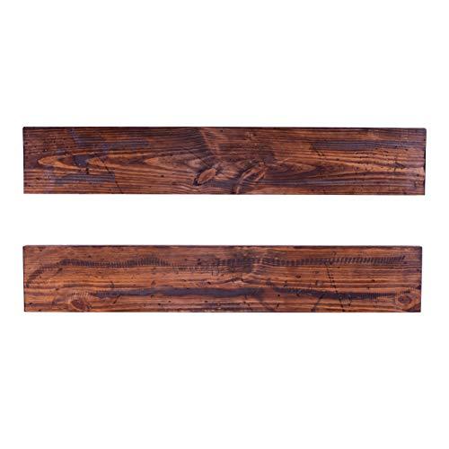 DAKODA LOVE 8 Deep Rugged Distressed Floating Shelves USA Handmade Clear Coat Finish 100 Countersunk Hidden Floating Shelf Brackets Beautiful Grain Rustic Pine Wood Set Of 2 48 Bourbon 0 2