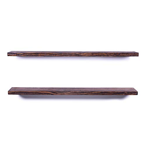 DAKODA LOVE 8 Deep Rugged Distressed Floating Shelves USA Handmade Clear Coat Finish 100 Countersunk Hidden Floating Shelf Brackets Beautiful Grain Rustic Pine Wood Set Of 2 48 Bourbon 0 4