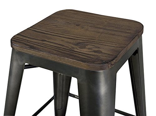Terrific Dhp Fusion Metal Backless 24 Counter Stool With Wood Seat Distressed Metal Finish For Industrial Appeal Set Of Two Copper Creativecarmelina Interior Chair Design Creativecarmelinacom