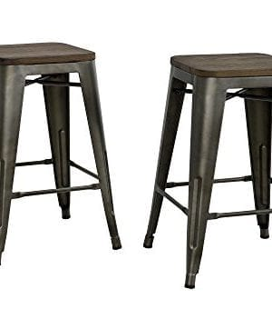 DHP Fusion Metal Backless 24 Counter Stool With Wood Seat Distressed Metal Finish For Industrial Appeal Set Of Two Copper 0 300x340