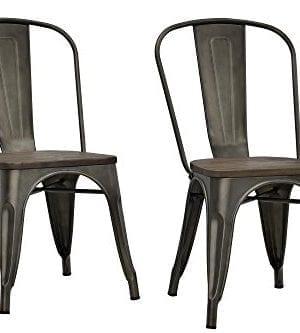 Enjoyable Dhp Fusion Metal Dining Chair With Wood Seat Distressed Metal Finish For Industrial Appeal Set Of Two Copper Gmtry Best Dining Table And Chair Ideas Images Gmtryco