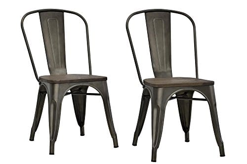 DHP Fusion Metal Dining Chair With Wood Seat Distressed Metal Finish For Industrial Appeal Set Of Two Copper 0 0