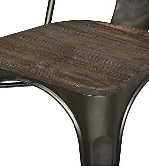 DHP Fusion Metal Dining Chair With Wood Seat Distressed Metal Finish For Industrial Appeal Set Of Two Copper 0 1 300x333