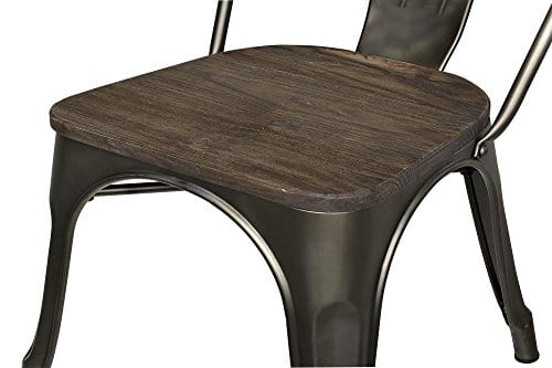 DHP Fusion Metal Dining Chair With Wood Seat Distressed Metal Finish For Industrial Appeal Set Of Two Copper 0 1