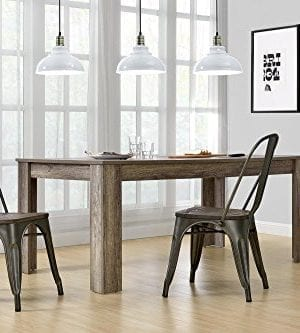 DHP Fusion Metal Dining Chair With Wood Seat Distressed Metal Finish For Industrial Appeal Set Of Two Copper 0 2 300x333