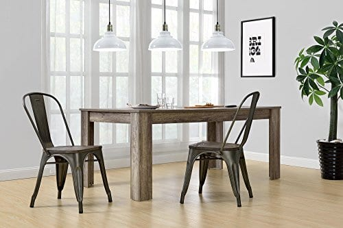 DHP Fusion Metal Dining Chair With Wood Seat Distressed Metal Finish For Industrial Appeal Set Of Two Copper 0 2