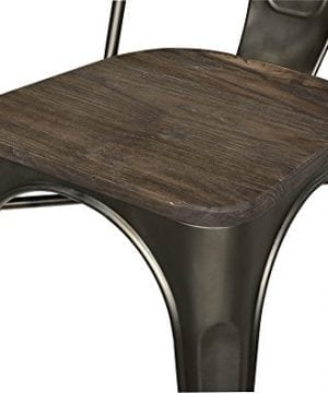 DHP Fusion Metal Dining Chair With Wood Seat Distressed Metal Finish For Industrial Appeal Set Of Two Copper 0 4 300x360