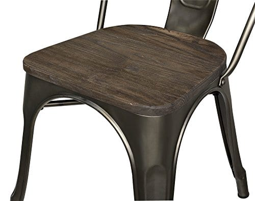 DHP Fusion Metal Dining Chair With Wood Seat Distressed Metal Finish For Industrial Appeal Set Of Two Copper 0 4