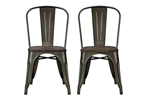 DHP Fusion Metal Dining Chair With Wood Seat Distressed Metal Finish For Industrial Appeal Set Of Two Copper 0