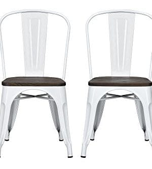 DHP Fusion Metal Dining Chair With Wood Seat Distressed Metal Finish For Industrial Appeal Set Of Two White 0 0 300x333