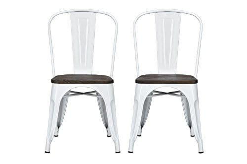 DHP Fusion Metal Dining Chair With Wood Seat Distressed Metal Finish For Industrial Appeal Set Of Two White 0 0