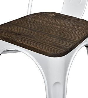 DHP Fusion Metal Dining Chair With Wood Seat Distressed Metal Finish For Industrial Appeal Set Of Two White 0 1 300x333