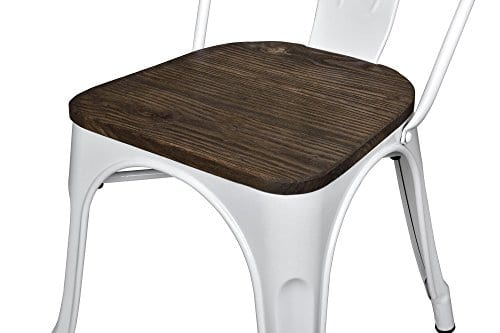 DHP Fusion Metal Dining Chair With Wood Seat Distressed Metal Finish For Industrial Appeal Set Of Two White 0 1